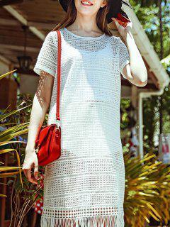 Fringed Openwork Crochet Dress - White S