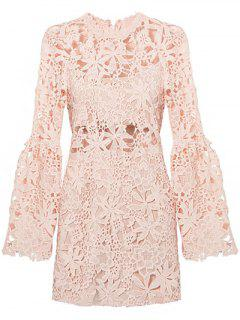 Flare Sleeve Hollow Out Slimming Lace Dress - Light Pink S
