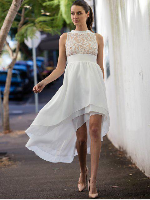 outfits Sleeveless High Low Prom Dress - WHITE S Mobile
