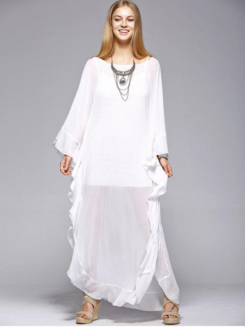 latest Ruffles See-Through Dress - WHITE L Mobile