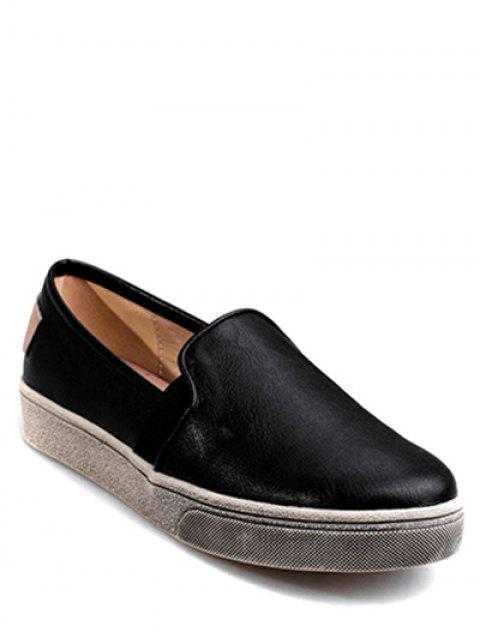 affordable Round Toe PU Leather Flat Shoes - BLACK 38 Mobile