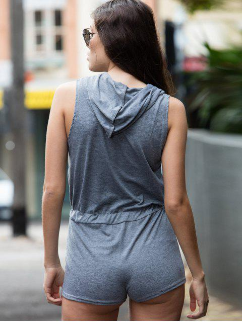 latest Gray Hooded Sleeveless Zipper Romper - GRAY S Mobile