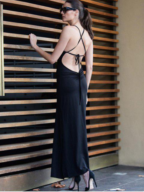 fashion Black Spaghetti Strap Backless Split Maxi Dress - BLACK L Mobile