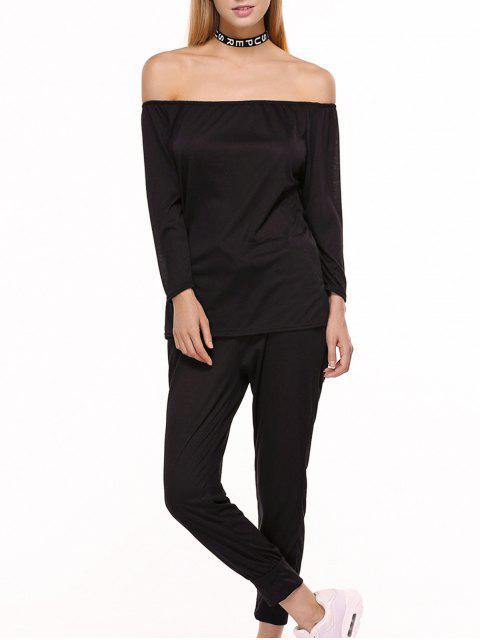 Sporty Off The Shoulder Top et Drawstring Jogger Pants - Noir L Mobile