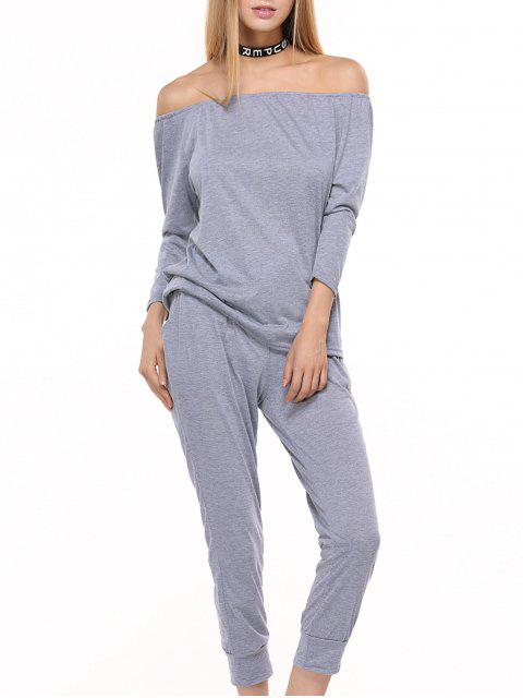 Sporty Off The Shoulder Top et Drawstring Jogger Pants - Gris S Mobile