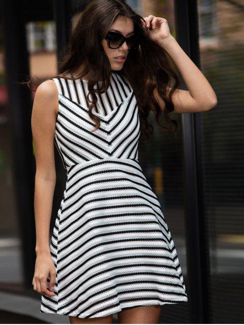 online Stripe Mesh A Line Dress - WHITE M Mobile
