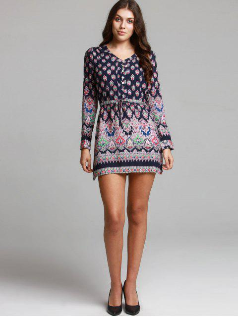affordable Bohemian V-Neck Printed Drawstring Beach Dress For Women - COLORMIX L Mobile