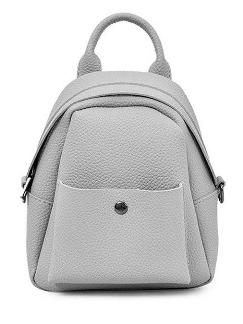 buy Solid Color PU Leather Backpack - GRAY  Mobile