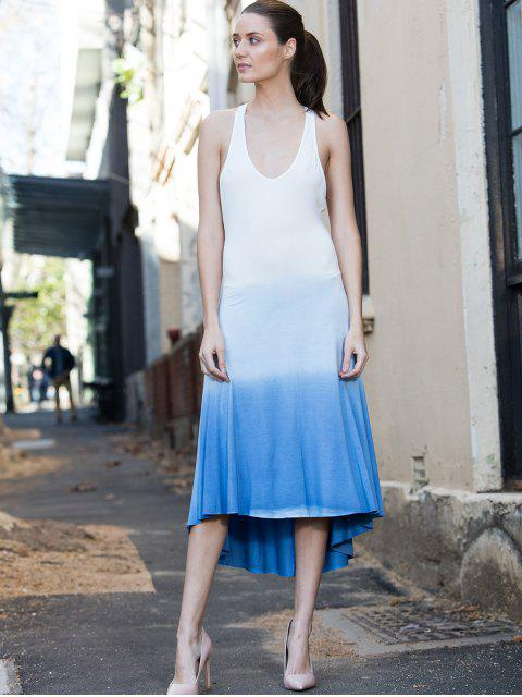 shop Blue Ombre Color Sleeveless Plunging Neck Sundress - BLUE L Mobile