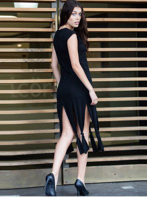 latest Short Sleeve Black Slit Dress - BLACK M Mobile