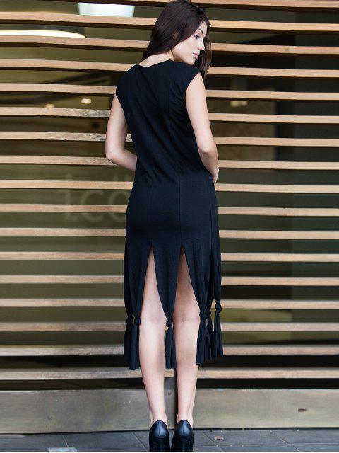 fashion Short Sleeve Black Slit Dress - BLACK XL Mobile