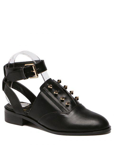 outfits Ankle Strap Metal Cut Out Flat Shoes - BLACK 39 Mobile