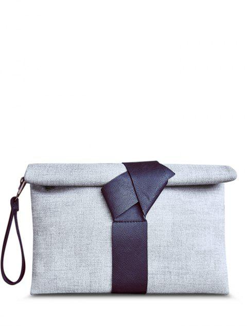 hot Colour Block PU Leather Clutch Bag - GRAY  Mobile