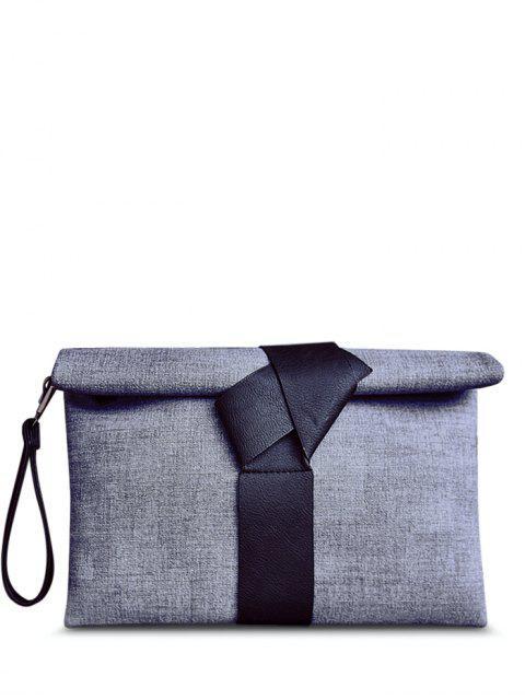 outfit Colour Block PU Leather Clutch Bag - BLACK  Mobile
