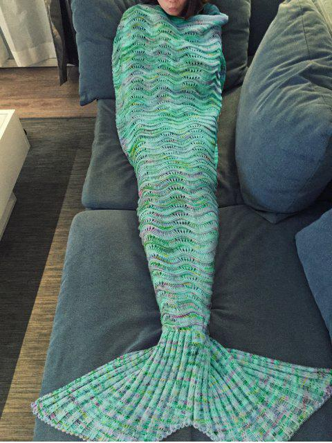 fancy Handmade Knitted Mermaid Blanket - GREEN  Mobile