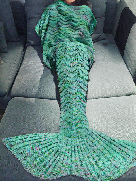 Couverture tricotée multicolore conception Queue de Sirène Pour Adulte - Vert  Mobile