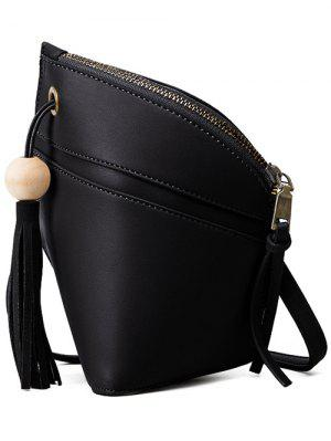 Tassel Solid Color Asymmetrical Crossbody Bag - Black