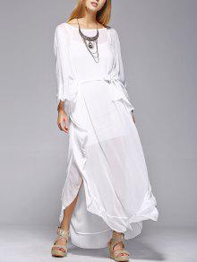 تنورة مكسرة الشفااف   - أبيض Xl