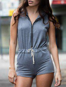 Gray Hooded Sleeveless Zipper Romper - Gray S