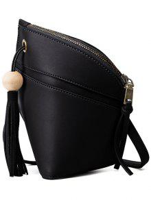 Tassel Solid Color Asymmetrical Crossbody Bag - Black