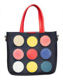 Bloque De Color Polka Dot Bolsa De Asas - Negro