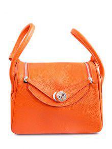 Double Zips PU Leather Tote Bag - Orange