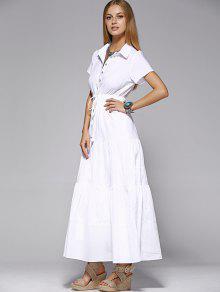 00ed381d75dd 31% OFF  2019 Maxi Shirt Dress In WHITE