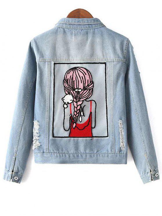 lady Embellished Shirt Collar Distressed Denim Jacket - LIGHT BLUE L