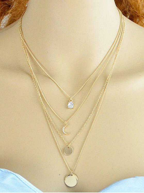 hot Rhinestone Moon Multilayered Necklace - GOLDEN