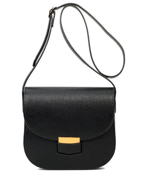 fancy Metal Solid Colour Crossbody Bag - BLACK