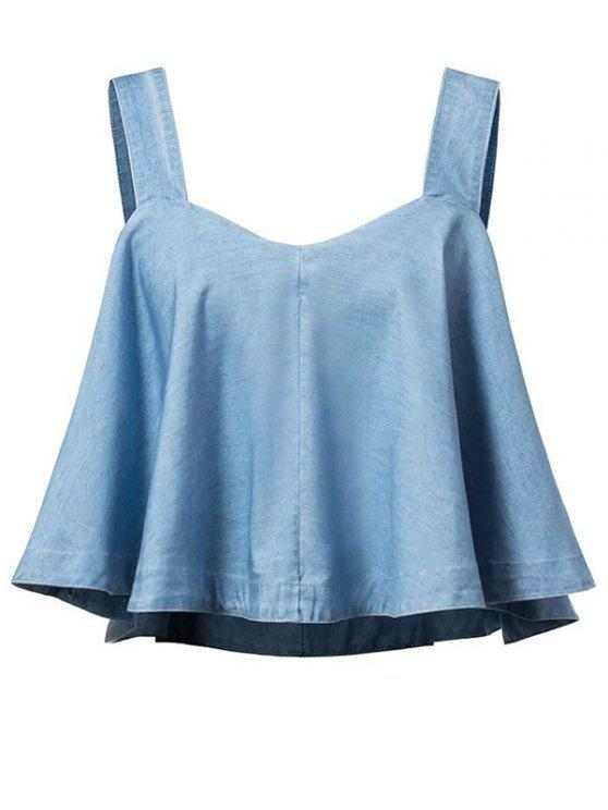 Correas de lejía Lavar umbelado dril de algodón sin mangas - Azul M