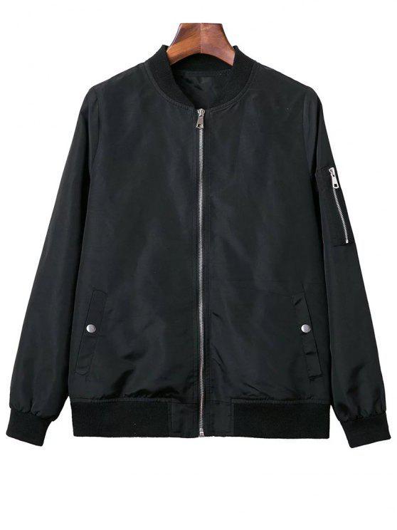 Soporte del negro de cuello de manga larga con cremallera Chaqueta - Negro L