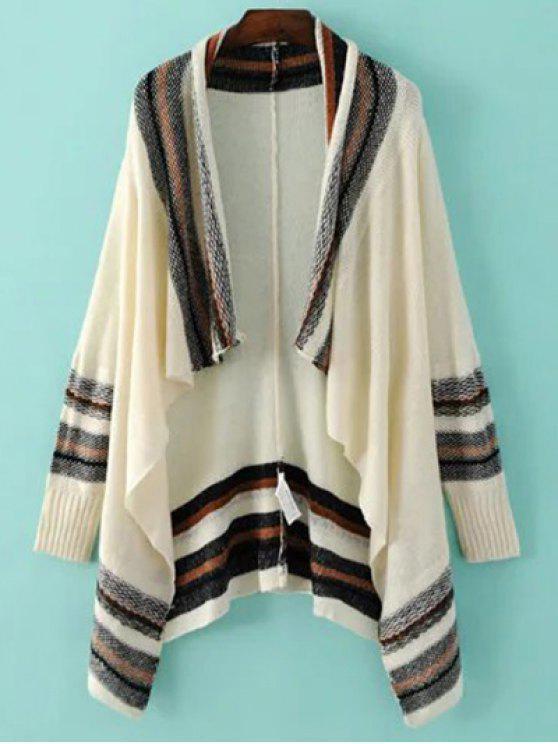 hot Striped Long Sleeve Color Block Cardigan - BEIGE M