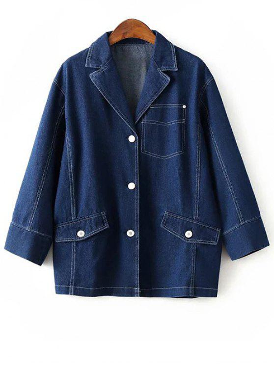 hot Buttons Lapel Collar Long Sleeve Denim Coat - DEEP BLUE S