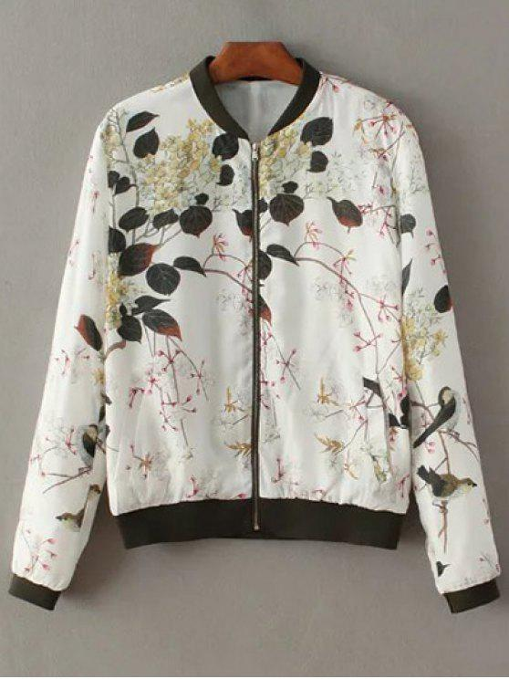 shop Printed Stand Neck Long Sleeve Zipper Up Jacket - WHITE S