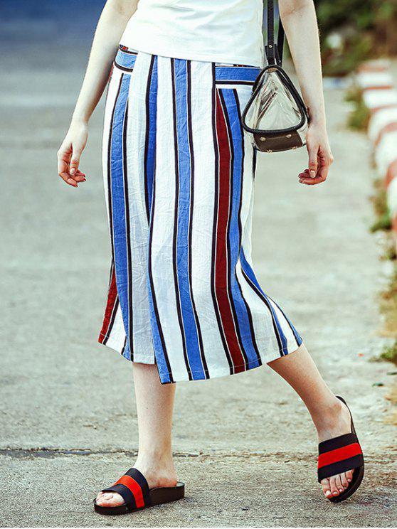 Taille élastique à rayures Pantalon large Leg Capri - Rayure M