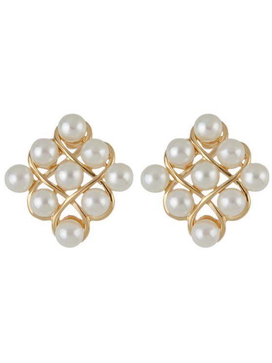 unique Faux Pearl Stud Earrings - GOLDEN