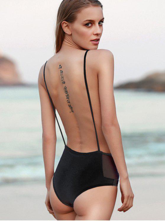 5d40a5c8ddf5 19% OFF  2019 Backless Spaghetti Straps One Piece Swimwear In BLACK ...