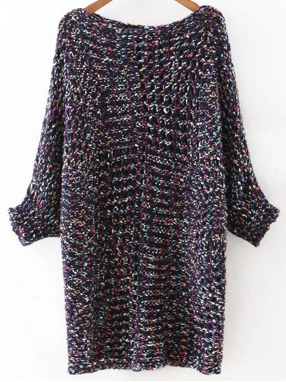 womens Mixed Color Chunky Sweater - BLUE ONE SIZE(FIT SIZE XS TO M)