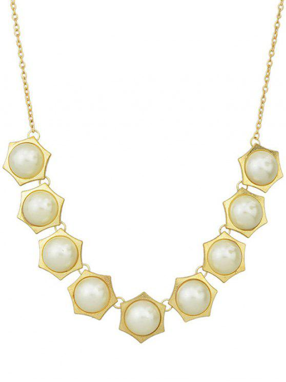 outfits Fake Pearl Geometric Necklace - GOLDEN