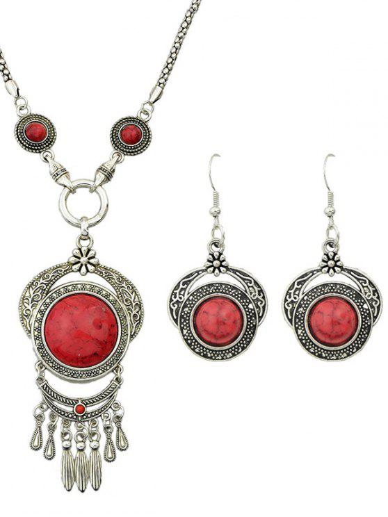 trendy Fake Gem Fringe Necklace and Earrings - RED