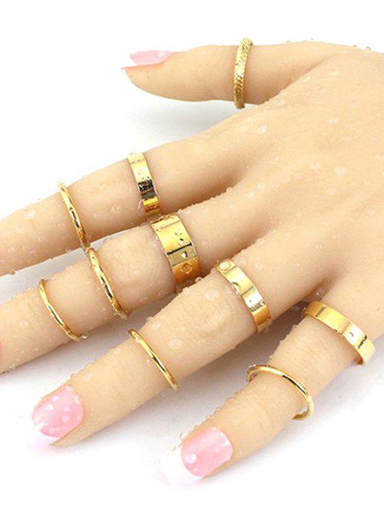 Anéis de cor sólida simples - Dourado Tamanho Único