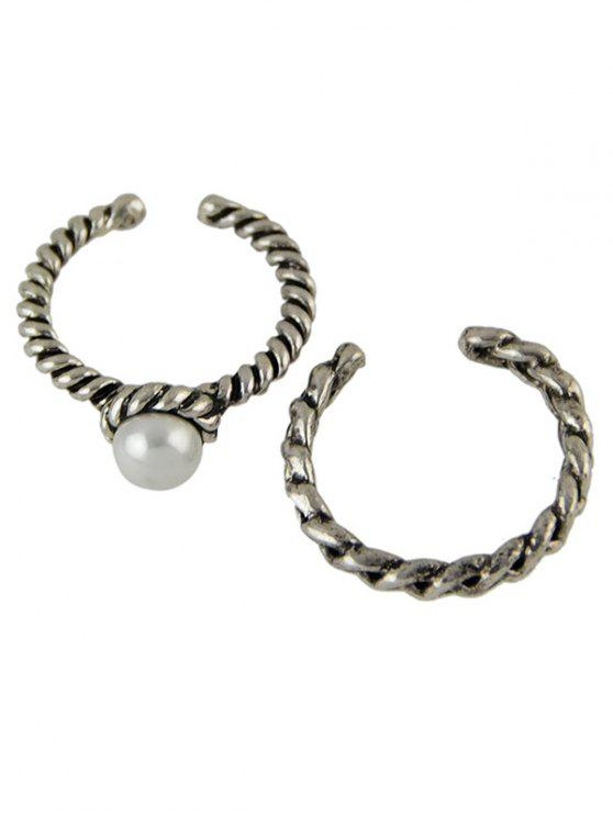 affordable Faux Pearl Opening Rings - SILVER