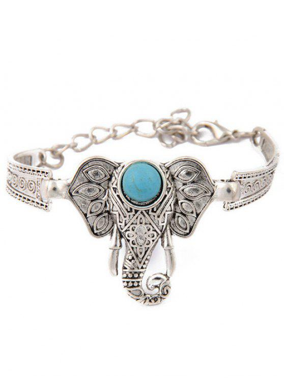 affordable Faux Turquoise Elephant Bracelet - SILVER