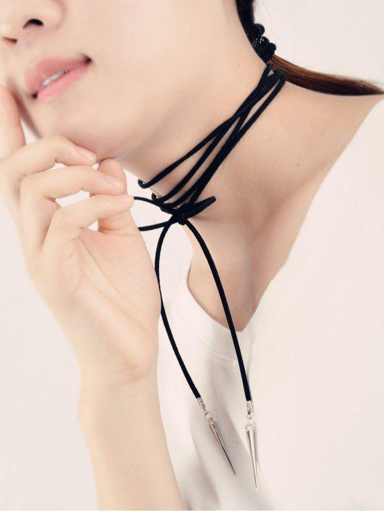 fashion Cone Rivet Decoration Wrap Necklace - BLACK