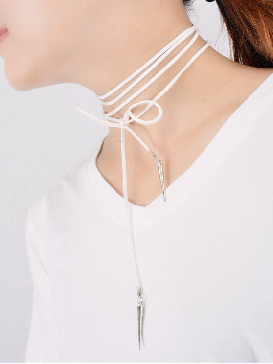 new Velvet Cone Rivet Wrap Necklace - WHITE