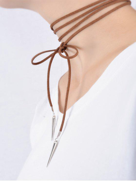 Collier enveloppe en velours avec rivet en forme de cône - Café