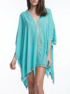 V Neck Solid Color Lace Border  Bat-Wing Sleeve Dress - Turquoise