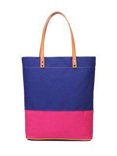 Color Block Canvas Shoulder Bag - Blue