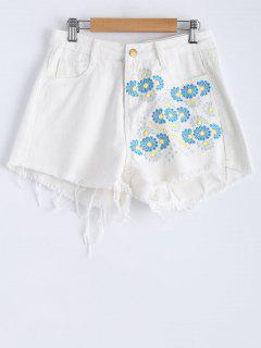 Embroidered Frayed Shorts - White S